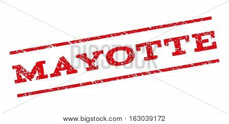 Mayotte watermark stamp. Text caption between parallel lines with grunge design style. Rubber seal stamp with dirty texture. Vector red color ink imprint on a white background.