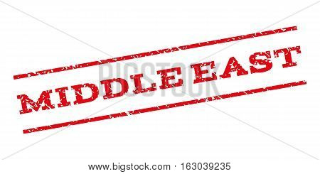 Middle East watermark stamp. Text tag between parallel lines with grunge design style. Rubber seal stamp with scratched texture. Vector red color ink imprint on a white background.