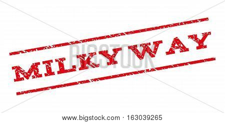 Milky Way watermark stamp. Text tag between parallel lines with grunge design style. Rubber seal stamp with scratched texture. Vector red color ink imprint on a white background.
