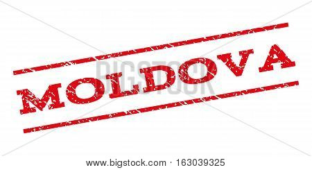 Moldova watermark stamp. Text tag between parallel lines with grunge design style. Rubber seal stamp with dust texture. Vector red color ink imprint on a white background.
