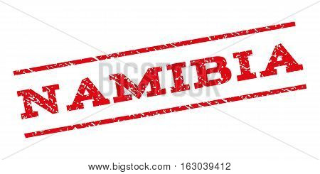 Namibia watermark stamp. Text tag between parallel lines with grunge design style. Rubber seal stamp with unclean texture. Vector red color ink imprint on a white background.