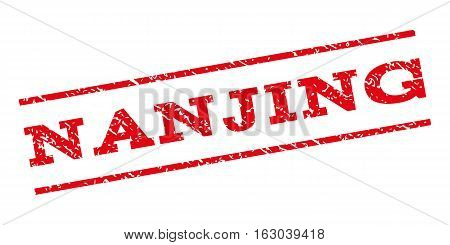 Nanjing watermark stamp. Text caption between parallel lines with grunge design style. Rubber seal stamp with dust texture. Vector red color ink imprint on a white background.