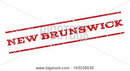New Brunswick watermark stamp. Text caption between parallel lines with grunge design style. Rubber seal stamp with dirty texture. Vector red color ink imprint on a white background.