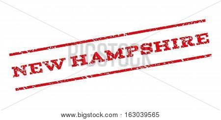 New Hampshire watermark stamp. Text caption between parallel lines with grunge design style. Rubber seal stamp with dirty texture. Vector red color ink imprint on a white background.