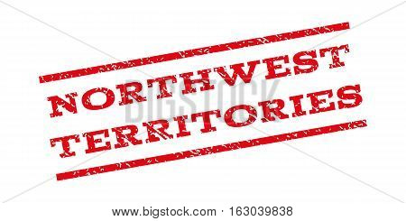 Northwest Territories watermark stamp. Text tag between parallel lines with grunge design style. Rubber seal stamp with dust texture. Vector red color ink imprint on a white background.