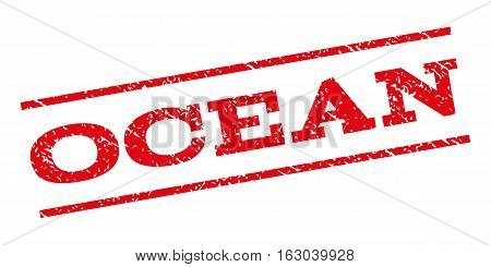 Ocean watermark stamp. Text tag between parallel lines with grunge design style. Rubber seal stamp with scratched texture. Vector red color ink imprint on a white background.