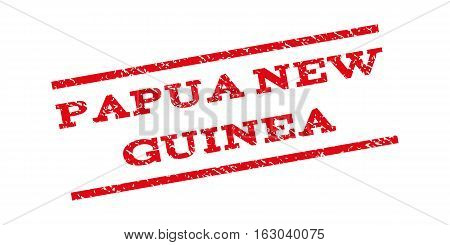 Papua New Guinea watermark stamp. Text caption between parallel lines with grunge design style. Rubber seal stamp with scratched texture. Vector red color ink imprint on a white background.