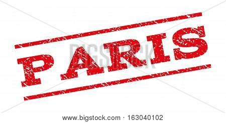 Paris watermark stamp. Text tag between parallel lines with grunge design style. Rubber seal stamp with unclean texture. Vector red color ink imprint on a white background.