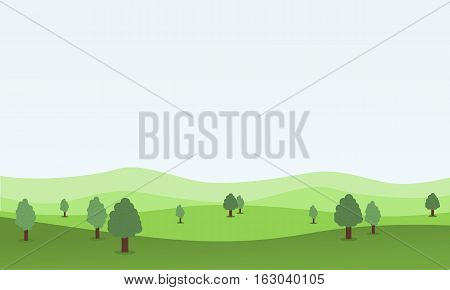 Flat design nature landscape with hill vector illustration