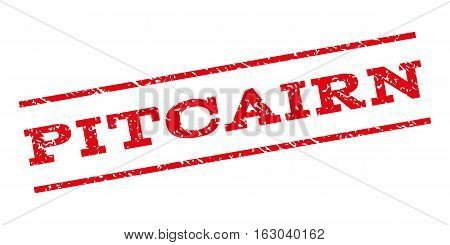 Pitcairn watermark stamp. Text caption between parallel lines with grunge design style. Rubber seal stamp with dust texture. Vector red color ink imprint on a white background.