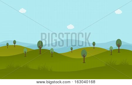 Green landscape vector flat illustration collection stock