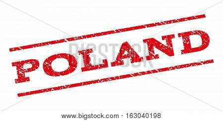Poland watermark stamp. Text caption between parallel lines with grunge design style. Rubber seal stamp with dust texture. Vector red color ink imprint on a white background.