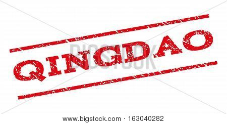 Qingdao watermark stamp. Text caption between parallel lines with grunge design style. Rubber seal stamp with unclean texture. Vector red color ink imprint on a white background.