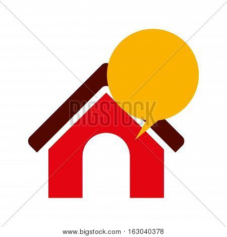 Bubble and house icon. Communication message discussion and conversation theme. Isolated design. Vector illustration