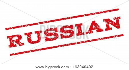 Russian watermark stamp. Text tag between parallel lines with grunge design style. Rubber seal stamp with dust texture. Vector red color ink imprint on a white background.