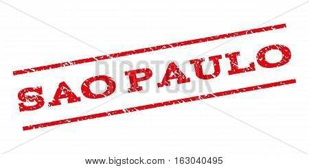 Sao Paulo watermark stamp. Text caption between parallel lines with grunge design style. Rubber seal stamp with scratched texture. Vector red color ink imprint on a white background.