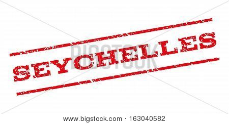 Seychelles watermark stamp. Text tag between parallel lines with grunge design style. Rubber seal stamp with dirty texture. Vector red color ink imprint on a white background.