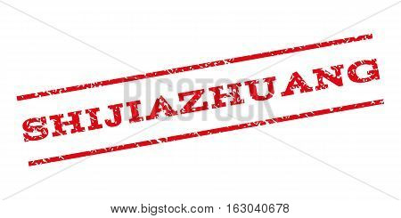 Shijiazhuang watermark stamp. Text tag between parallel lines with grunge design style. Rubber seal stamp with dust texture. Vector red color ink imprint on a white background.