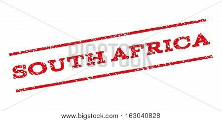 South Africa watermark stamp. Text caption between parallel lines with grunge design style. Rubber seal stamp with dirty texture. Vector red color ink imprint on a white background.