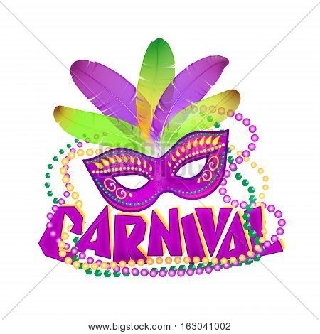 Bright vector carnival icons mask and sign