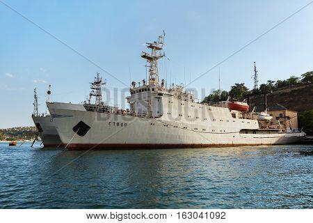 Sevastopol, Russia - June 09, 2016: Hydrographic Vessel Stvor in the Bay Black Sea.