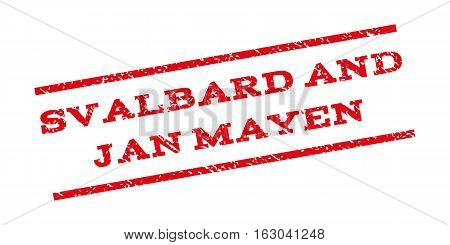 Svalbard And Jan Mayen watermark stamp. Text tag between parallel lines with grunge design style. Rubber seal stamp with dust texture. Vector red color ink imprint on a white background.