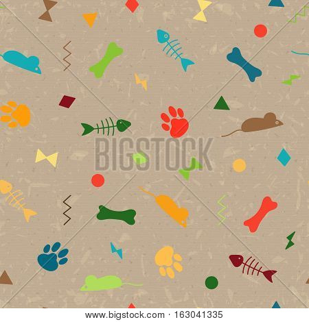 Seamless pattern for card, paper, scrapbook, wrapping, backdrop, texture. Pet background from bones, paws trail, fishbones and geometric figures. Vector illustration