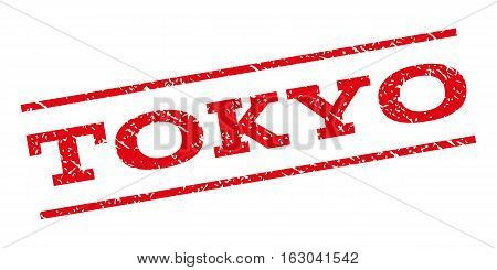 Tokyo watermark stamp. Text caption between parallel lines with grunge design style. Rubber seal stamp with unclean texture. Vector red color ink imprint on a white background.