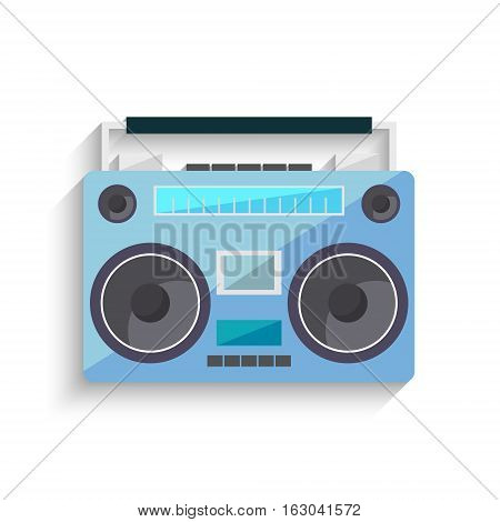 Flat vintage orange tape recorder for audio cassettes. Music boombox. Modern trendy design for music concept. Poster, card, leaflet or banner template design with place for text. Vector illustration.