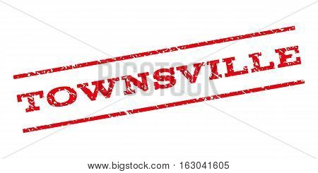 Townsville watermark stamp. Text caption between parallel lines with grunge design style. Rubber seal stamp with dirty texture. Vector red color ink imprint on a white background.