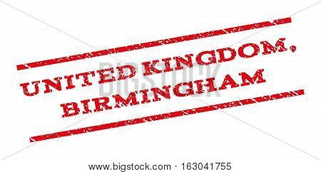 United Kingdom Birmingham watermark stamp. Text caption between parallel lines with grunge design style. Rubber seal stamp with scratched texture. Vector red color ink imprint on a white background.