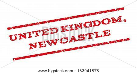 United Kingdom Newcastle watermark stamp. Text tag between parallel lines with grunge design style. Rubber seal stamp with unclean texture. Vector red color ink imprint on a white background.