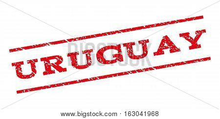 Uruguay watermark stamp. Text caption between parallel lines with grunge design style. Rubber seal stamp with dust texture. Vector red color ink imprint on a white background.