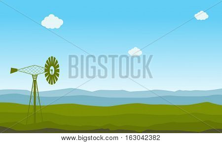 Nature landscape with windmill illustration collection stock