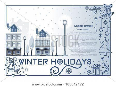 Winter holidays design. Christmas card template with winter snow-covered town, holly, jingle bells, candy, snowflakes, other Christmas symbols and space for your text. Vector illustration