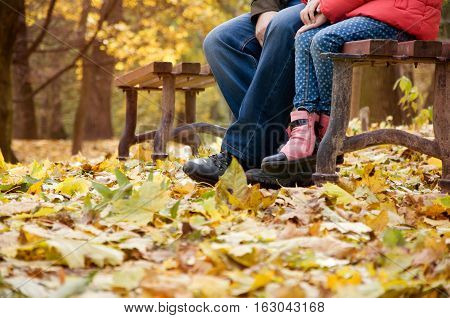 autumn. foot child and adult in the yellow leaves