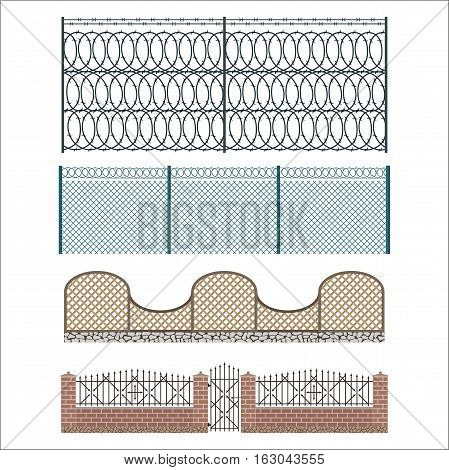 Different designs of fences and gates isolated on white background. Rustic wall house protection. Stone home building garden enclosure element. Architecture farm border vector.