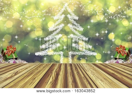 Perspective wood empty table. Christmas tree and present boxes in a winter landscape with snow. Abstract twinkling lights blurred bokeh background. Can be used for display your products. Vintage tone.