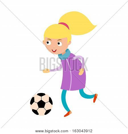 Young child girl playing football vector illustration. Active sport running soccer game. Competition youth activity kid, play activity lifestyle character.