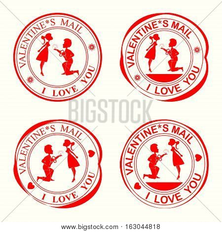 A set of stamps with silhouettes of lovers, the girl and the guy on his knees with flowers on Valentine s Day