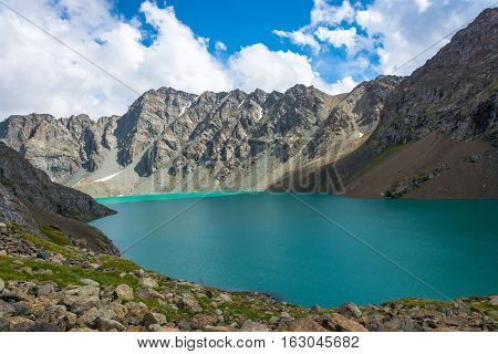 Landscape With Mountain Lake Ala-kul, Kyrgyzstan.