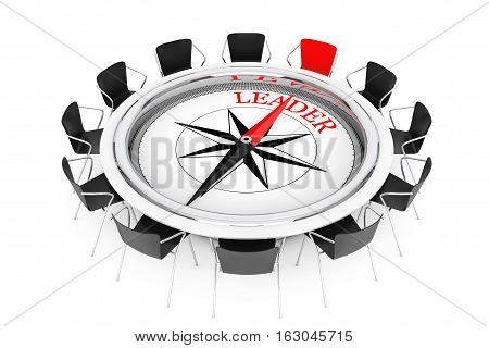Compass over Round Table show to Leader Chair on a white background. 3d Rendering