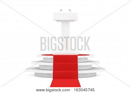 White Podium Tribune Rostrum Stand with Microphones over Round White Pedestal with Steps and a Red Carpet on a white background. 3d Rendering