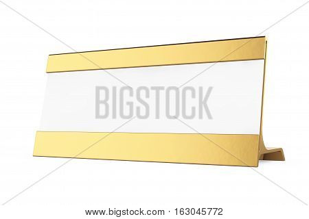 Golden Horizontal Blank Table Card Tag on a white background. 3d Rendering