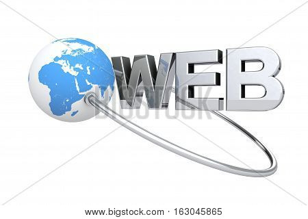 Blue Globe Earth and Web Sign on a white background. 3d Rendering