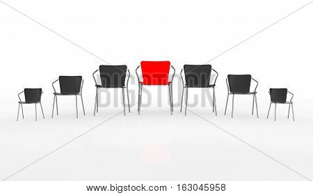Business Large Meeting. Red Boss Chair Between other Chairs on a white background. 3d Rendering