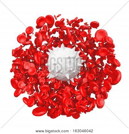 High Detail Red Blood Cells with White in Centre on a white background. 3d Rendering