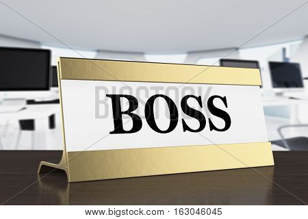 Golden Boss Identification Plate on a wooden table. 3d Rendering