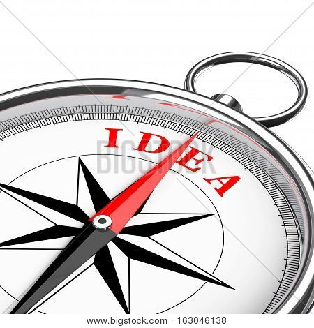 Direction to Idea Conceptual Compass Closeup on a white background. 3d Rendering