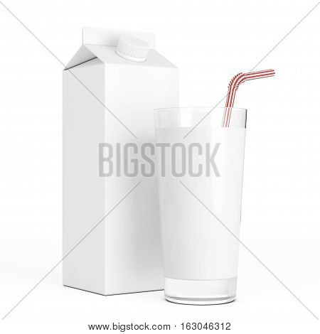 Blank Milk Carton Boxe with Glass on a white background. 3d Rendering